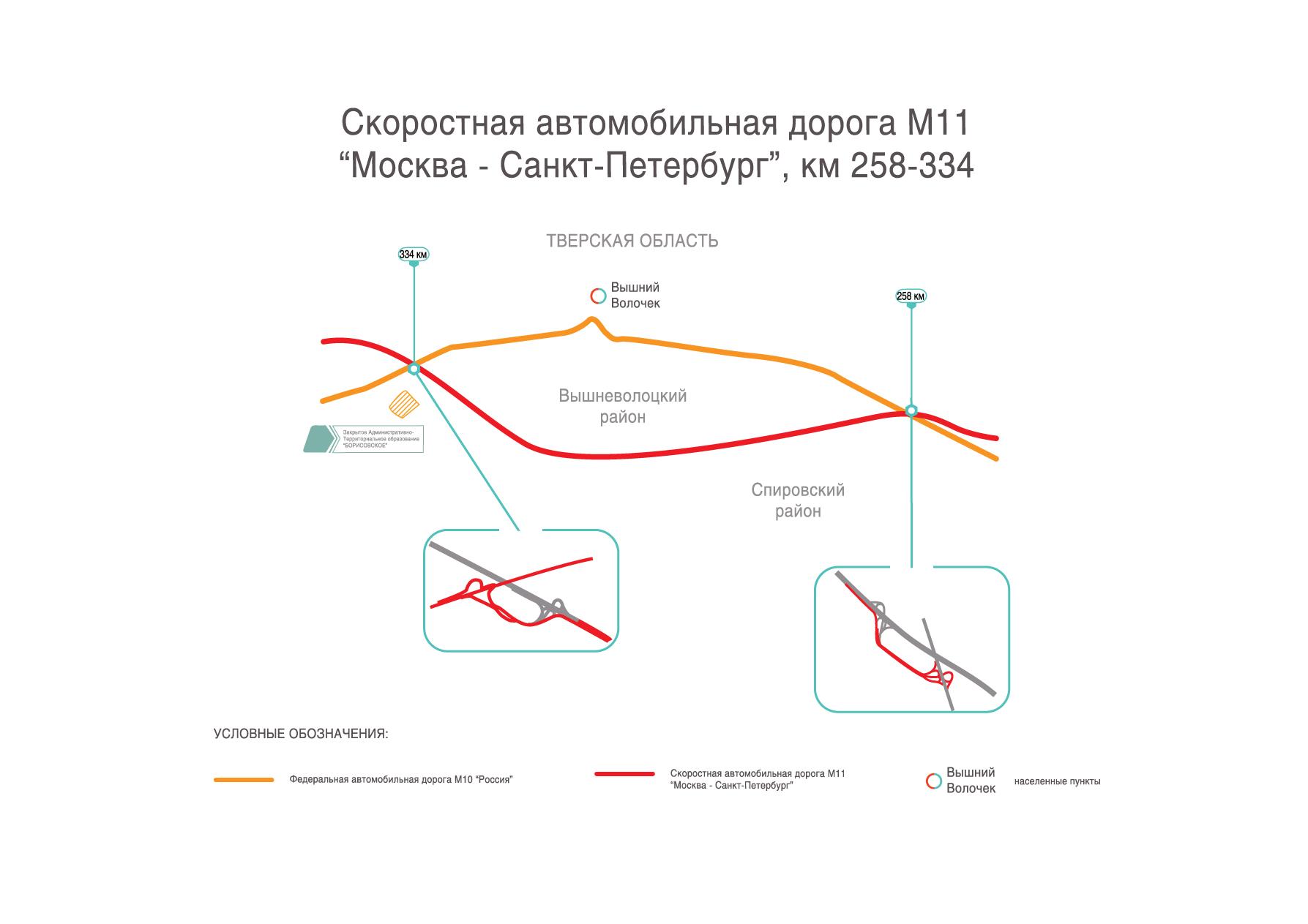 схема обхода г. Вышний Волочек на трассе М11 Москва - Санкт-Петербург